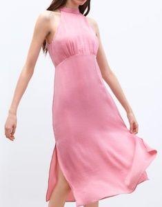Zara Pink Satin Midi Dress